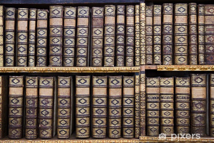 Old books in the Library of Stift Melk, Austria. Pixerstick Sticker - Public Buildings