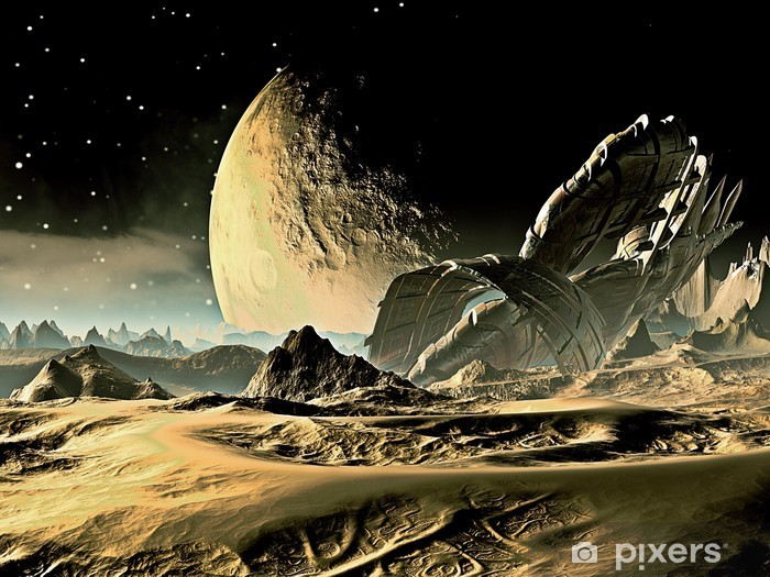 Papier peint vinyle Crashed Spaceship Alien sur Distant World - Espace
