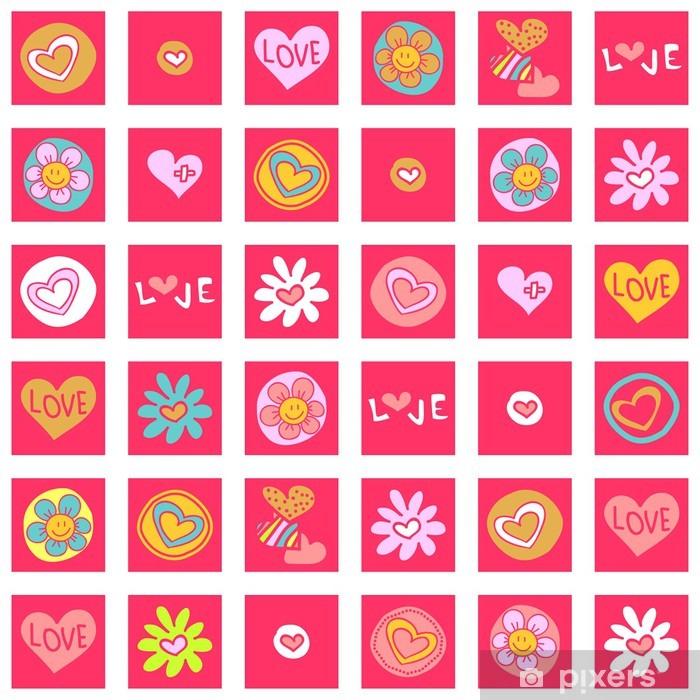 Naklejka Pixerstick Kolorowe szwu wzór z różnych elementów - Tła