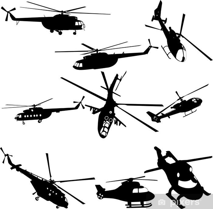 Sticker Pixerstick Collection d'hélicoptères - vecteur - Dans les airs