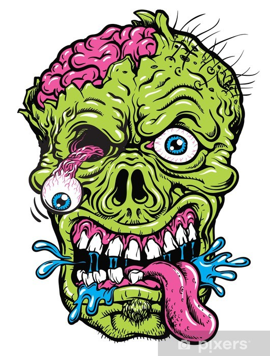 Yksityiskohtainen zombie pää kuva Vinyyli valokuvatapetti - iStaging 2