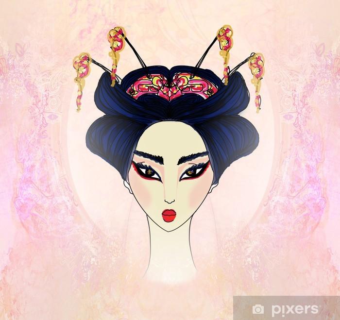 Sticker Pixerstick Résumé Belle geisha Portrait - Femmes