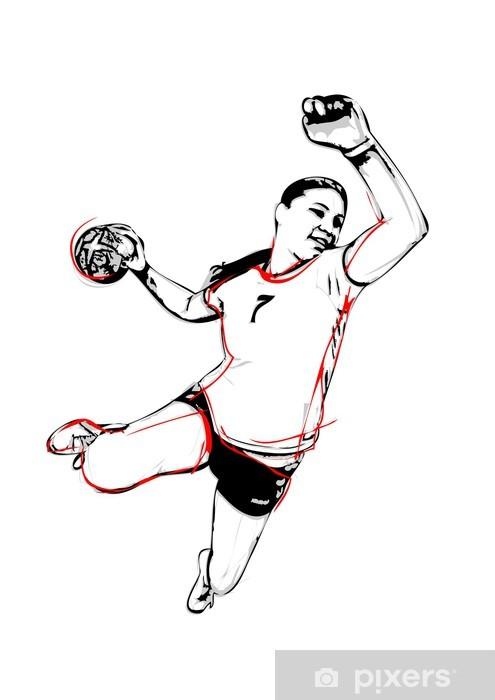 Klesskapklistremerke Håndballspiller - Lagidrett
