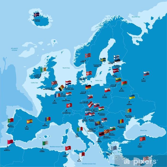 Poster Karta Europa Med Lander Huvudstader Och Flaggor Pixers
