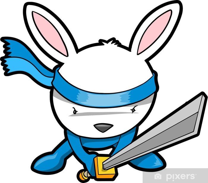 Naklejka Pixerstick Cute Bunny Rabbit Ninja Vector - Ssaki