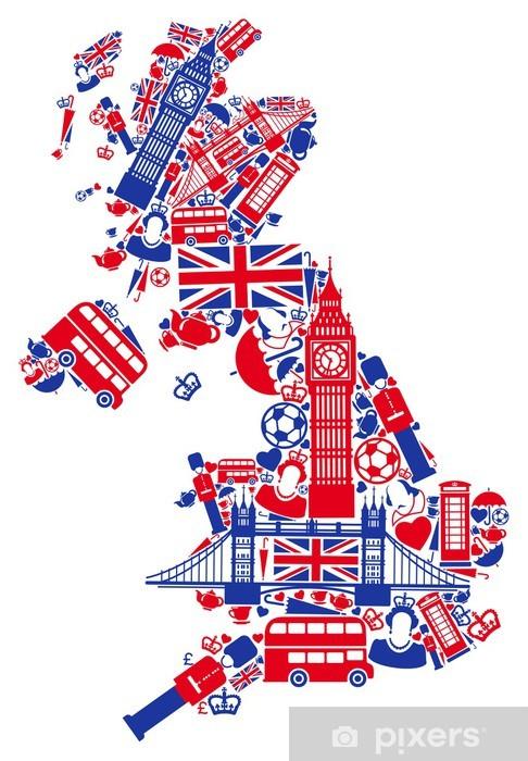 Fototapeta winylowa Mapa Wielkiej Brytanii - Europa