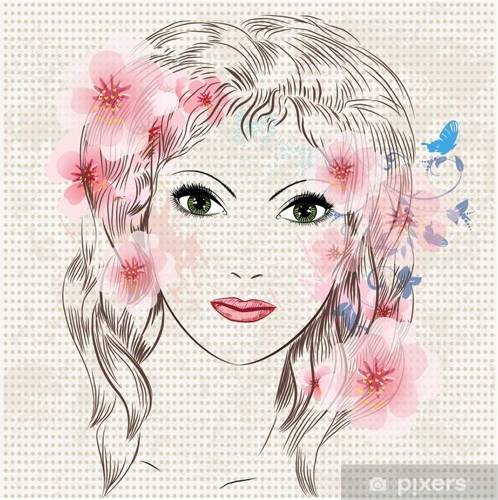 Papier peint vinyle Visage d'une belle jeune fille de la mode dans les fleurs - Femmes