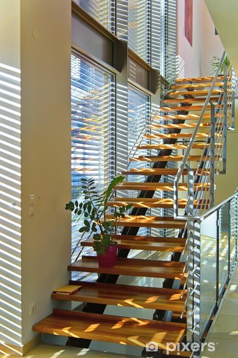 Sticker Escalier moderne dans maison d\'architecte plein de lumière,  Pixerstick