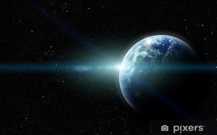 Sticker Pixerstick La planète terre réaliste dans l'espace - Arrière plans