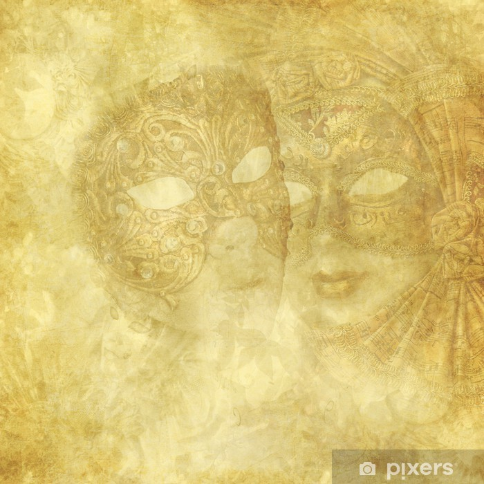 Póster Máscaras venecianas de la vendimia en fondo floral de oro - Celebraciones internacionales