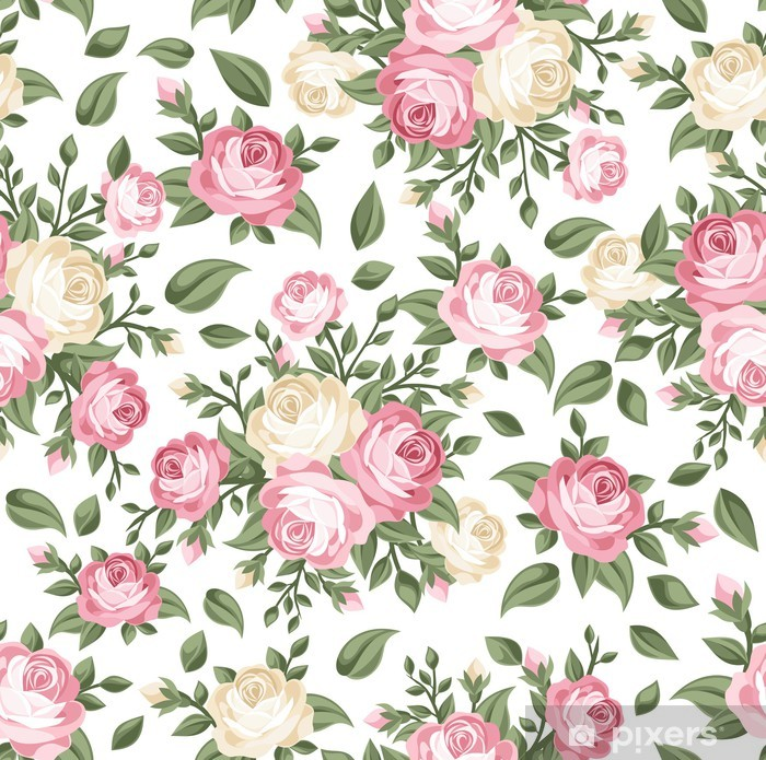 Sticker Pixerstick Seamless avec des roses roses et blanches. Vector illustration. - Thèmes
