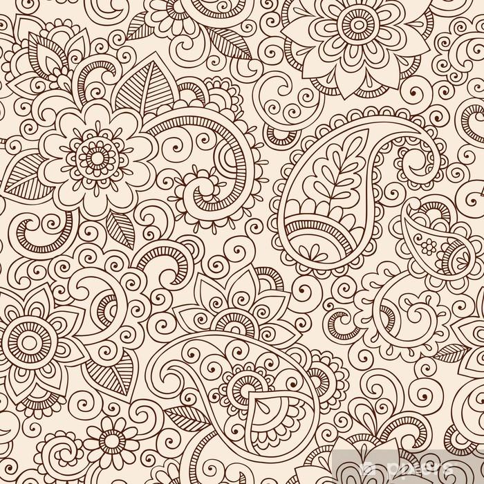 Vinyl Fotobehang Sierlijke Henna Paisley Patroon Doodle Vector Design - Thema's