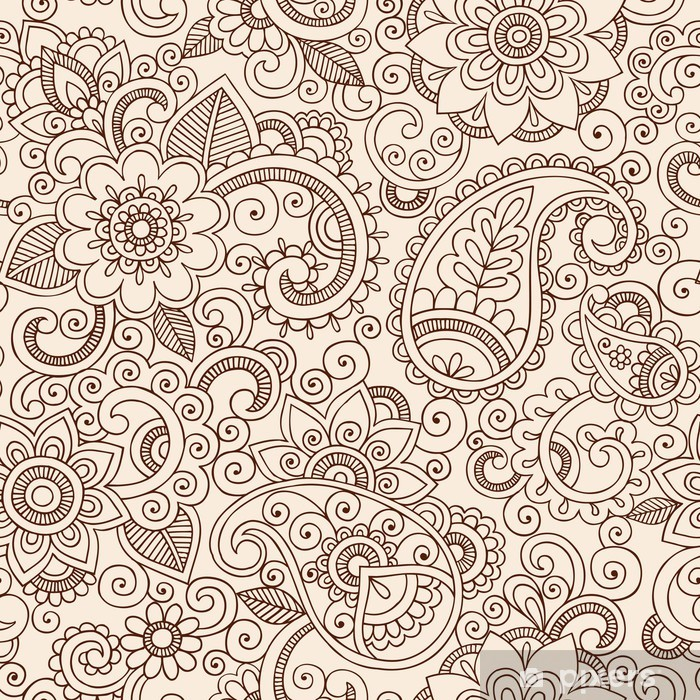 Ornate Henna Paisley Pattern Doodle Vector Design Vinyl Wall Mural - Themes