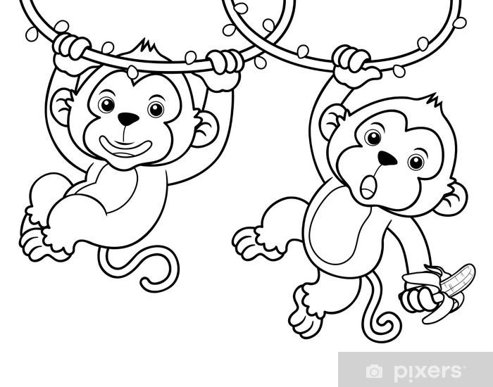 Fotomural Ilustración De Dibujos Animados De Monos Libro Para