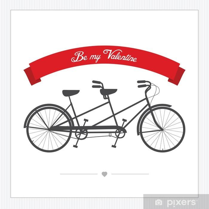 Fototapete Valentinstag Postkarte mit Vintage Tandem Fahrrad