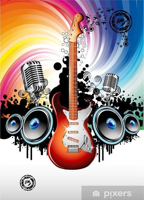Electric Guitar Music Background Sticker Pixers We Live To Change