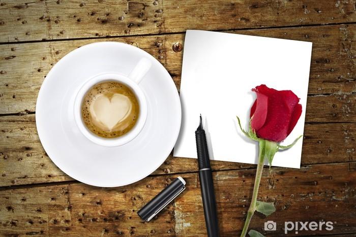 Naklejka Pixerstick Kawa na Walentynki, drewniany stół / vintage z powrotem dzień Valentin - Akcesoria kulinarne