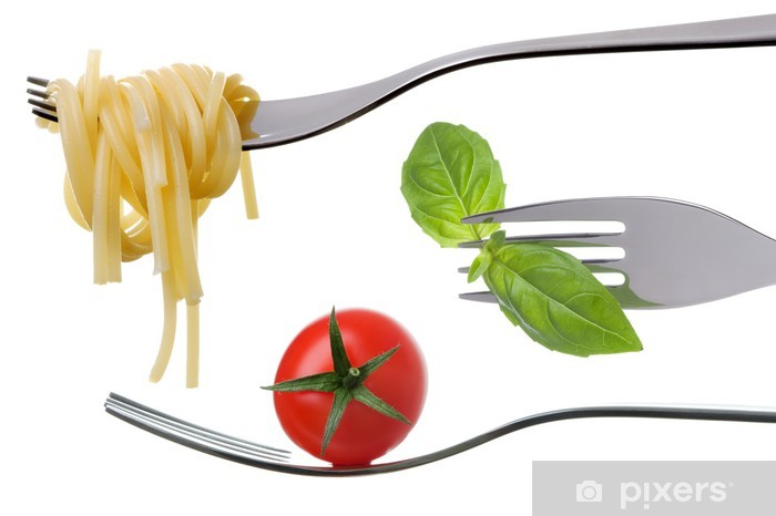 Papier peint vinyle Spaghetti basilic et tomate sur les fourches isolés - Thèmes