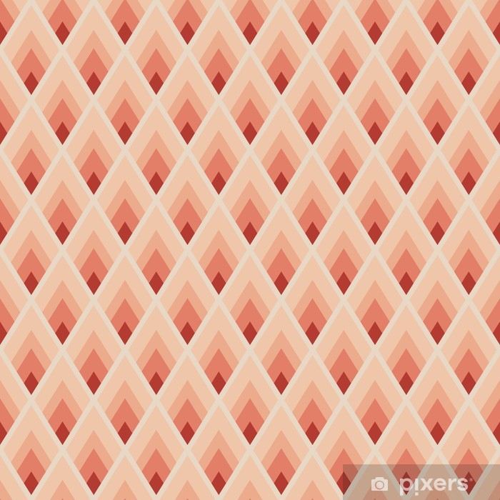 Mural de Parede Lavável Geometric seamless pattern with red lozenges - Fundos