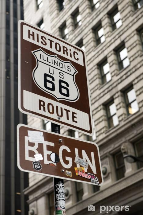 Pixerstick Sticker Start van Route 66, Chicago - Thema's