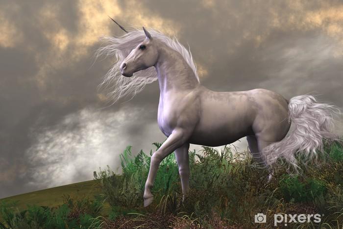 Hvid Unicorn Hingst Køleskab klistermærke -