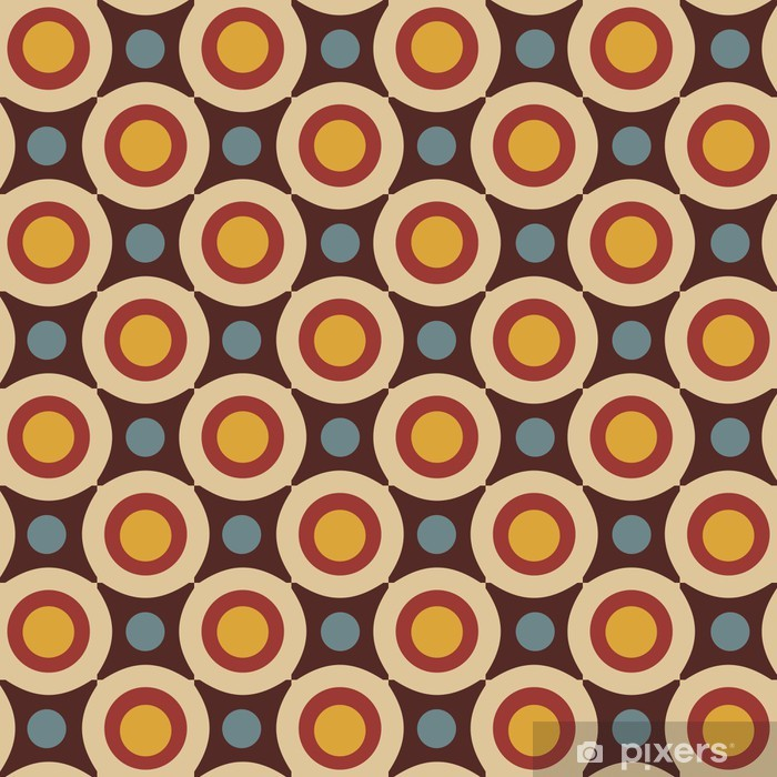 Seamless pattern in retro colors Pixerstick Sticker - Backgrounds