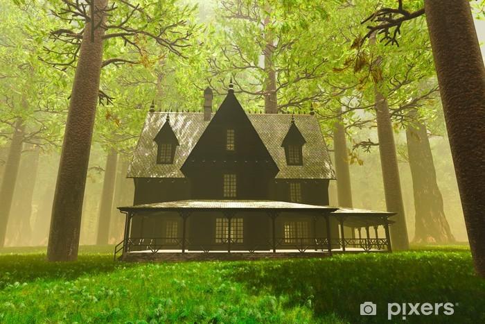 Naklejka Pixerstick Straszny Dom w głębokim lesie 3D render - Lasy