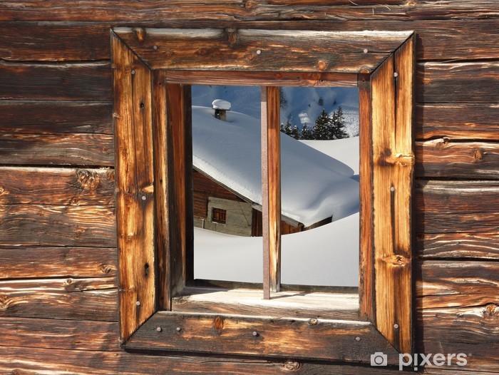Papier peint vinyle Chalet de ski dans les Alpes enneigées - Vacances