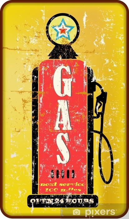 Sticker Pixerstick Vintage signe de la station de gaz, pompe à essence, illustration vectorielle - Matières premières