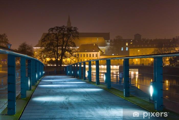Vinylová fototapeta Wroclaw v noci, Polsko - Vinylová fototapeta