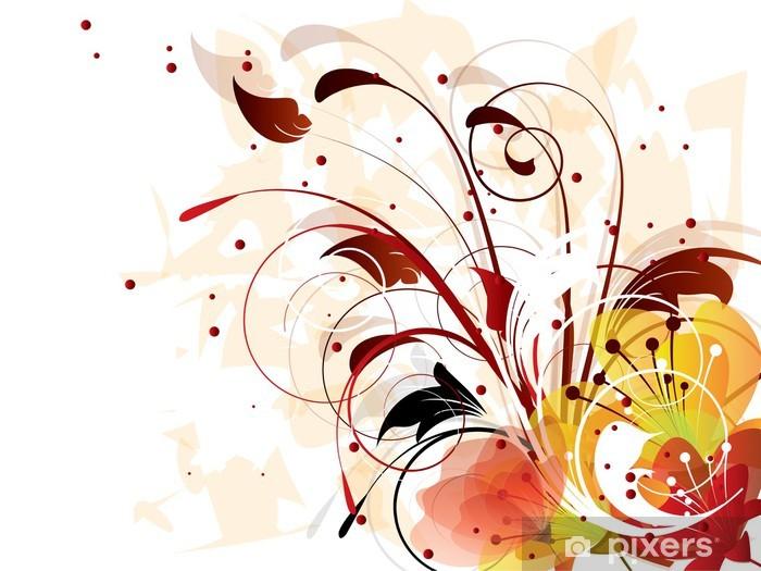 Papier peint vinyle Carte avec fond ornemental avec des éléments floraux - Abstrait