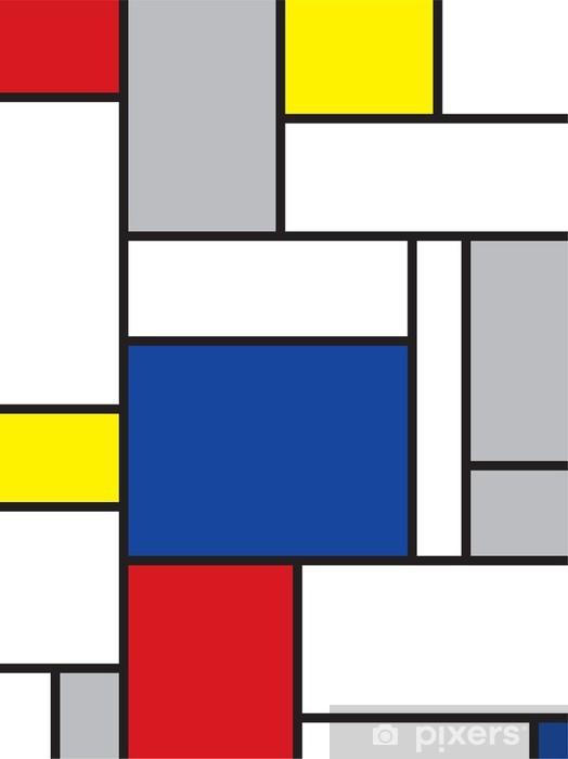 Pixerstick Sticker Mondriaan geïnspireerde kunst -