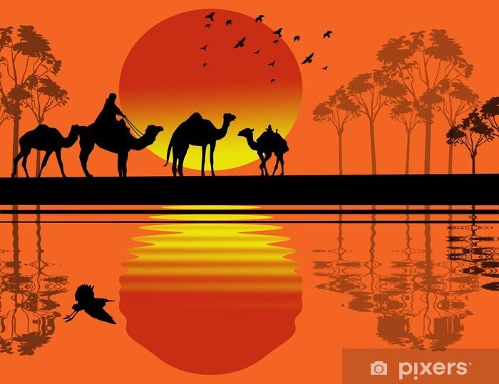 Pixerstick Sticker Bedouin kameel caravan - Zoogdieren
