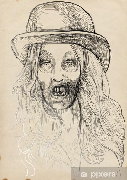 Bir ölümsüz Zombi Kıllı Kız Portresi El çizimi Duvar Resmi