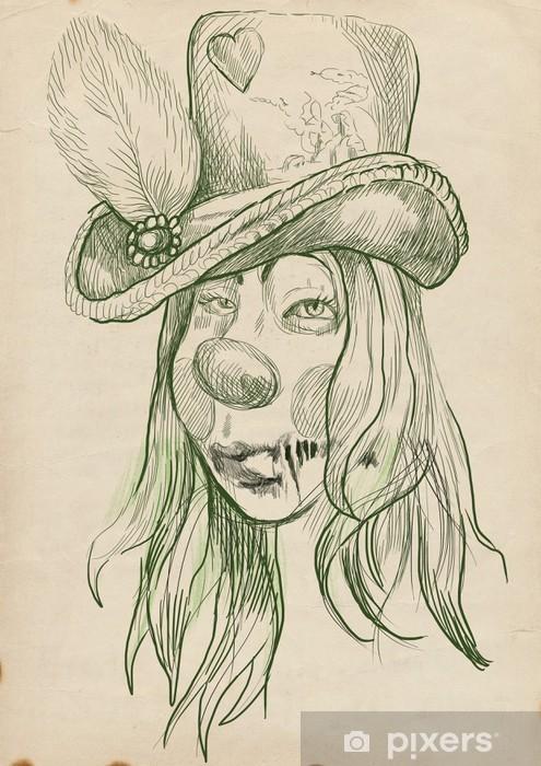 Bir ölümsüz Zombi Kıllı Kız Portresi El çizimi çıkartması