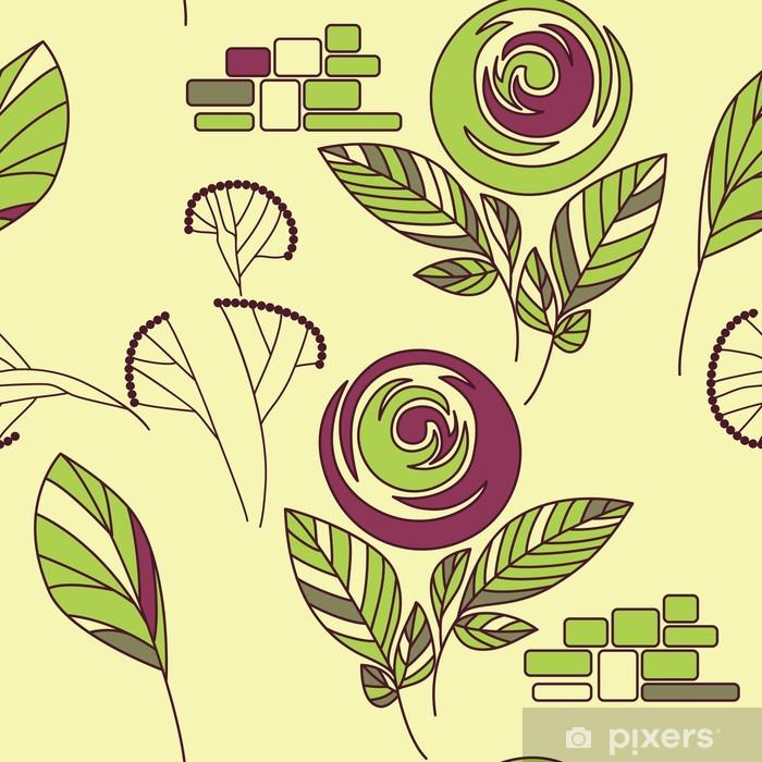 Papier peint vinyle Cru sans rose rose et ornement de fenouil - Agriculture