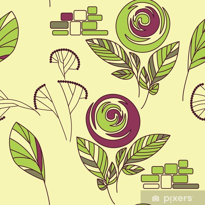 seamless vintage rose rose and fennel ornament pattern Pixerstick Sticker - Agriculture