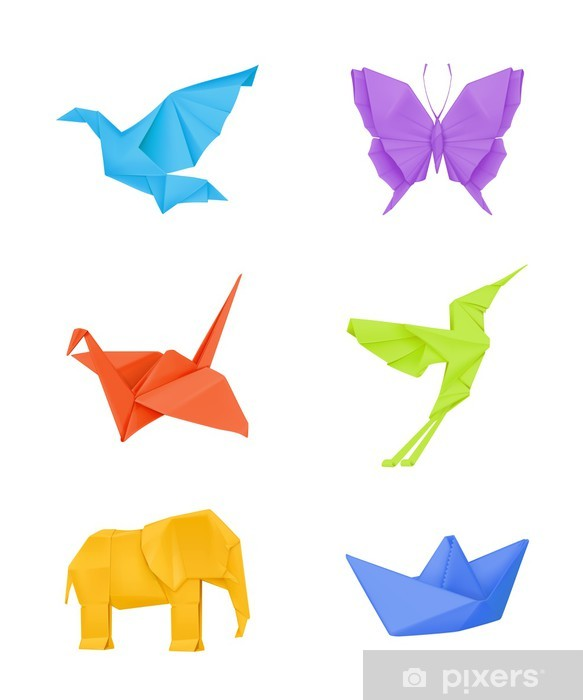 Sticker Pixerstick Origami ensemble, multicolore - Oiseaux