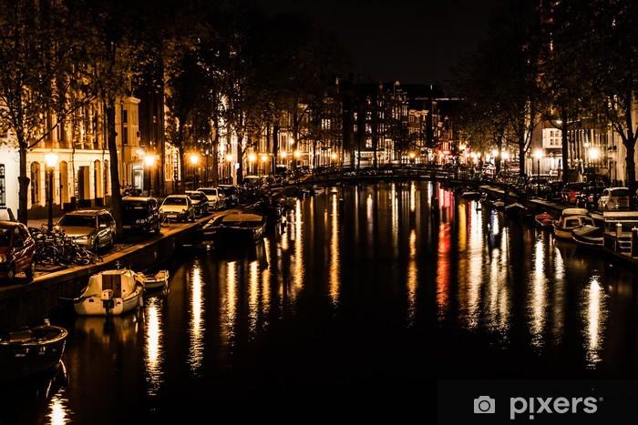 Fototapeta winylowa Amsterdam nocą, Holandia - Miasta europejskie