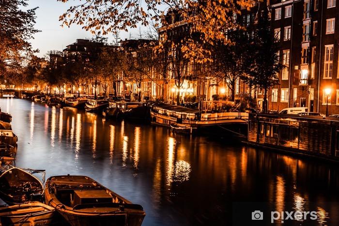 Vinyl Fotobehang Amsterdam bij nacht, Nederland - Thema's