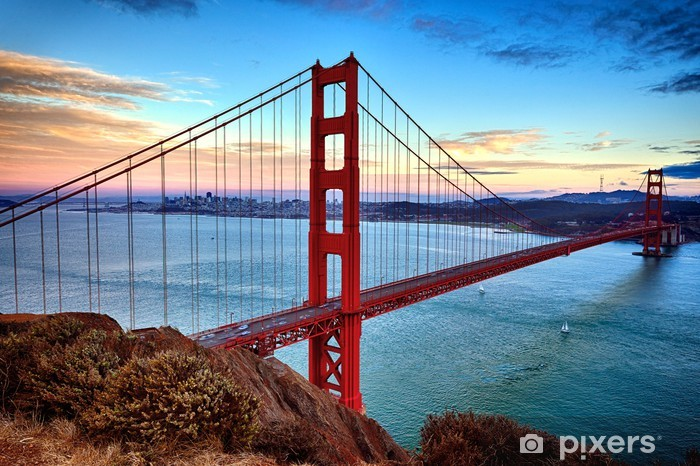 horizontal view of Golden Gate Bridge Pixerstick Sticker - Themes
