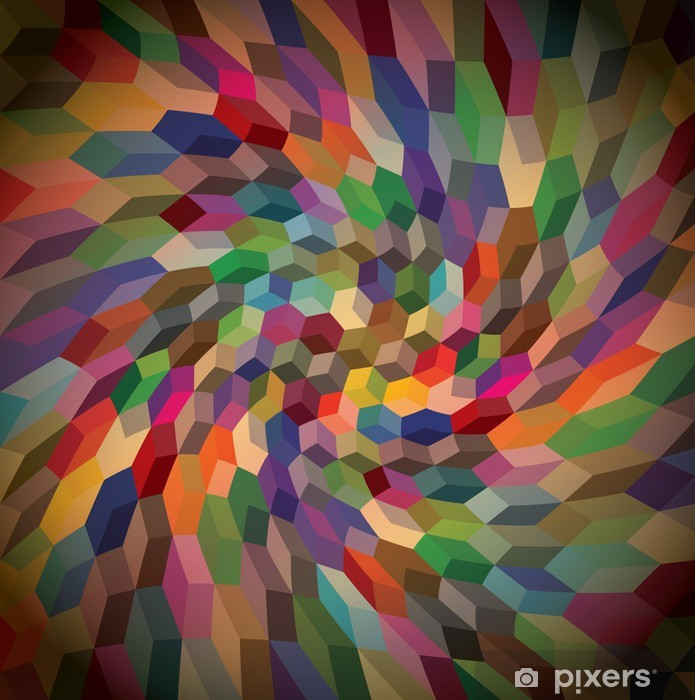 Abstract background from curly cubes, illustration Vinyl Wall Mural -