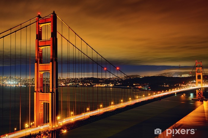 Night scene of Golden Gate Bridge Pixerstick Sticker - American Cities