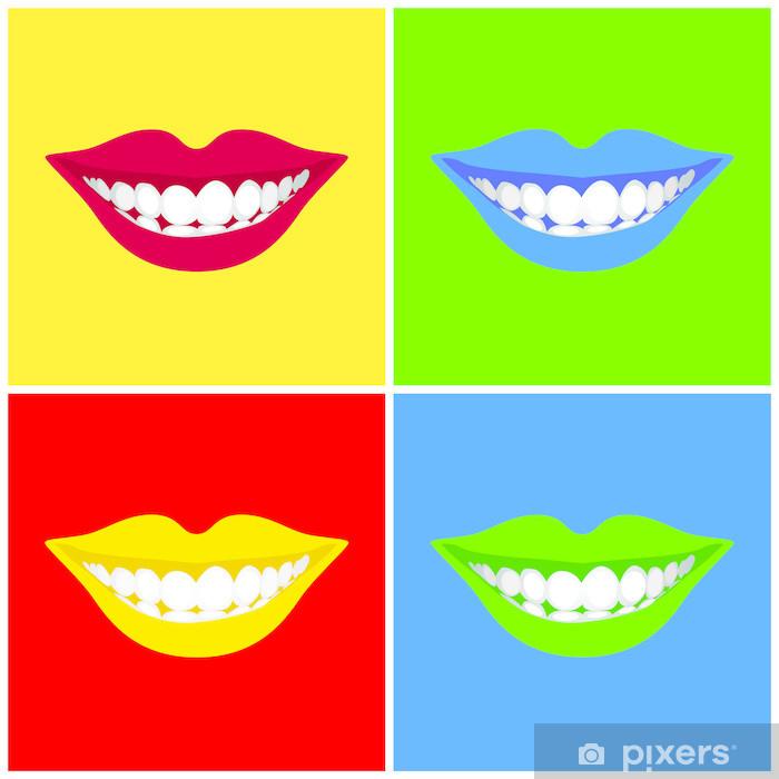 Papier peint vinyle La bouche de belle femme souriante - illustration. - Parties du corps