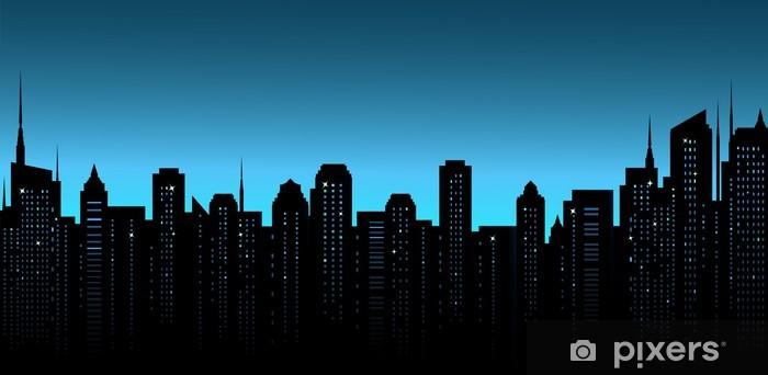 Iş Ofis Ve Gökdelenler Ile Gece şehir Arka Plan Duvar Resmi Pixers