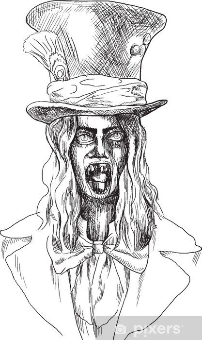 Fototapeta winylowa Portret z nieumarłych (zombie, przerażający clown ...), rysunek odręczny - Ezoteryka