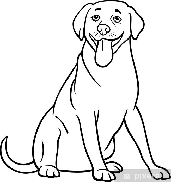 Vinilo Labrador Retriever Perro De Dibujos Animados Para Colorear Pixerstick