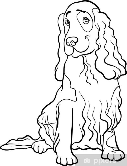 Coloriage De Chien Cocker Anglais.Sticker Cocker Bande Dessinee De Chien Epagneul Pour Livre De