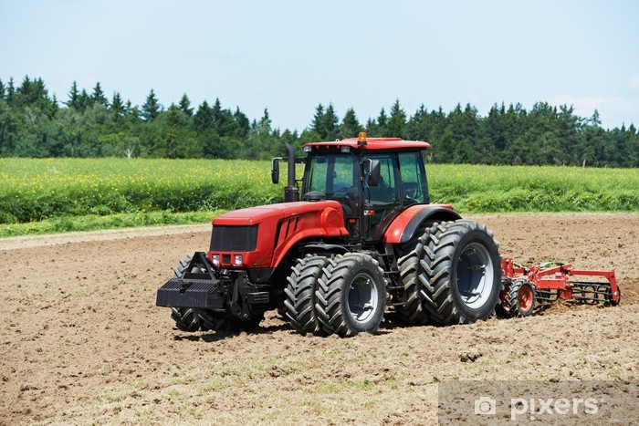 Vinyl Fotobehang Ploegen tractor op het veld teelt het werk - Landbouw