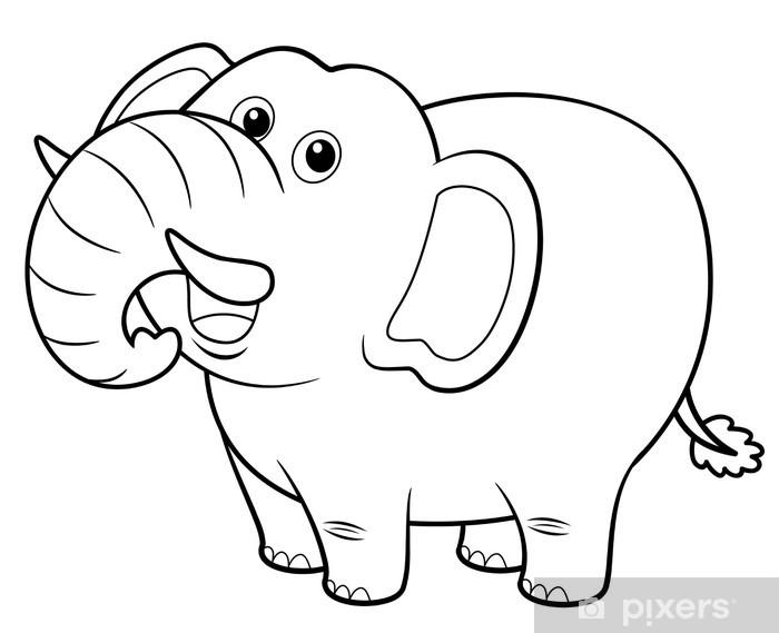 Sticker Illustration De L Elephant De Bande Dessinee Livre A